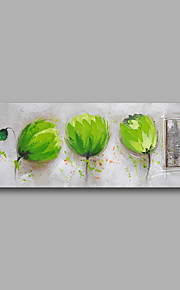 "Stretched (Ready to hang) Hand-Painted Oil Painting 48""x16"" Canvas Wall Art Modern Abstract Green Tulips Grey"