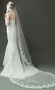 Véus de Noiva Uma Camada Véu Catedral Borda com aplicação de Renda Tule Marfim Marfim