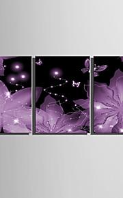 E-HOME® Stretched LED Canvas Print Art  Bright Pink Flowers LED Flashing Optical Fiber Print Set of 3