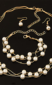 European Style Fashion Sweet Elegant Multilayer Pearl Mecklace Earring Bracelet Set