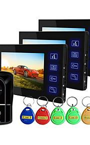 ultra tynd blå nøgle IP55 niveau vandtæt 7 tommer high-definition video doorbell et par af tre