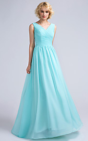 Lanting Bride Floor-length Chiffon Bridesmaid Dress A-line V-neck with Criss Cross