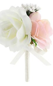 Wedding Flowers Free-form Roses Elegant Boutonnieres Wedding / Party/ Evening Pink Satin