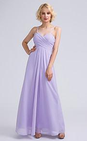 Lanting Bride Ankle-length Chiffon Bridesmaid Dress Sheath / Column Spaghetti Straps with Criss Cross