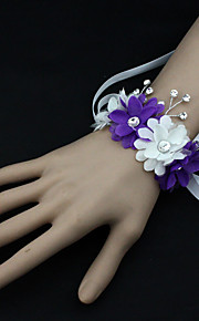 Wedding Flowers Free-form Peonies Wrist Corsages Wedding / Party/ Evening Blue / Pink / White / Purple Satin