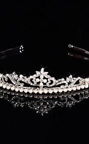Femme Strass / Cristal / Laiton / Imitation de perle Casque-Mariage / Occasion spéciale Tiare 1 Pièce Clair / Blanc Rond / Irrégulier 19cm