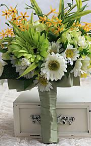 Wedding Flowers Free-form Roses / Peonies Elegant Biadal Bouquets Wedding Green Satin