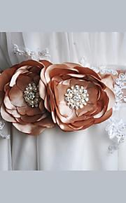 Satin / Satin/ Tulle / Dentelle Mariage / Fête/Soirée / Quotidien Ceinture-Fleur / Strass / Imitation de perle Femme 220cmFleur / Strass