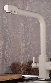 Moderne standard Tut Centersat Træk-udsprøjte with  Keramisk Ventil To Håndtak One Hole for  Maleri , Kjøkken Kran