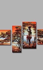 Dipinta a mano Astratto / Paesaggi / Ritratti / Fantasia Dipinti ad olio,Pastorale / Stile europeo / Modern Quattro Pannelli Tela