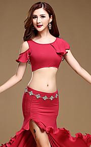Belly Dance Outfits Women's Training Modal Split Front 1 Piece Black / Blue / Burgundy No Belt Free Shorts Natural