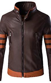 남성의 자켓 컬러 블럭 / 패치 워크 긴 소매 캐쥬얼 / 정장 / 플러스 사이즈 스페셜 가죽 타입,브라운