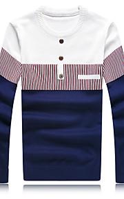 男性用 ストライプ カジュアル / プラスサイズ プルオーバー,長袖 コットン / ポリエステル ブルー / レッド / ホワイト