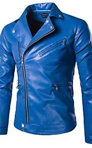 남성의 자켓 퓨어 긴 소매 캐쥬얼 / 정장 / 플러스 사이즈 스페셜 가죽 타입,블랙 / 블루