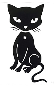 1pc Waterproof Tatoo Fake Black Cute Cat Flower Arm Back Temporary Tattoo for Women Body Art Sticker HB-037
