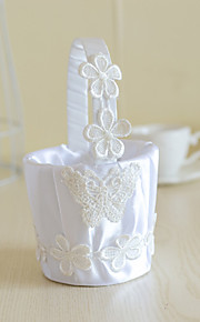White Satin with Lace Flower Butterfly Decoration Flower Basket for Wedding Party(12*12*24cm)
