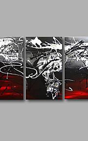 Dipinta a mano Astratto / POP Dipinti ad olio,Modern Tre Pannelli Tela Hang-Dipinto ad olio For Decorazioni per la casa