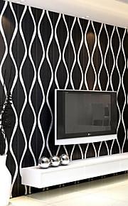 Fashion Pvc Black White Silver Striped Wallpaper 3D Modern Living Room Waterproof Vinyl Textured Stripe Wallpapers