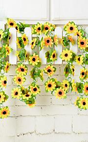 1pc 1 ענף פוליאסטר / פלסטיק חמניות פרחים לקיר פרחים מלאכותיים 78.8inch/200CM