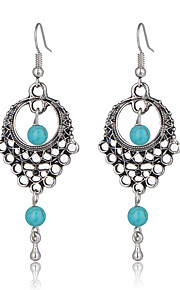 High Quality Ethnic Vintage Bohemian Style Jewelry Turquoise Beads Dangle Earrings Hollow Flower Earrings