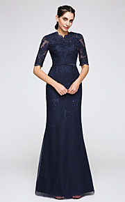 2017 ts couture® vestito da sera convenzionale tromba / paletta sirena piano di lunghezza tulle con applicazioni