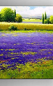 Hand Painted Oil Painting Lavender Scenery with Stretched Framed Ready to Hang