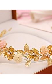 Dame Legering Headpiece-Bryllup Kranser 1 Deler Gull Blomst 48cm