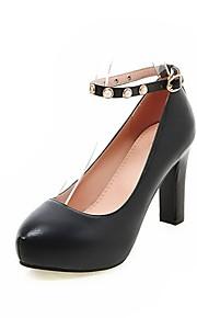 Women's Heels Summer / Fall Heels / Round Toe PU Office & Career / Casual Chunky Heel Buckle Black / Pink / White /