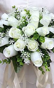 ウェディングブーケ ラウンド型 バラ ブーケ 結婚式 / パーティー ・夜 サテン 9.84inch(約25cm)
