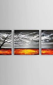 Hånd-malede Abstrakt / Landskab / Still Life / Afslapning Oliemalerier,Moderne / Europæisk Stil Tre Paneler Canvas Hang-Painted Oliemaleri