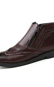 Черный / Коричневый-Мужской-На каждый день-Дерматин-На плоской подошве-Удобная обувь-Ботинки