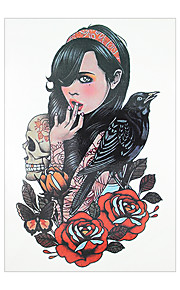 1pc Skull Belle Girl Long Hair Flower Arm Sleeve Decal Women Men Body Art Temporary Tattoo Sticker HB-020