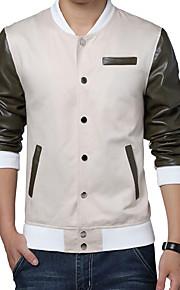 남성의 자켓 컬러 블럭 긴 소매 캐쥬얼 / 플러스 사이즈 면 / 폴리에스테르,베이지