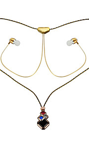 New necklace style headset Wireless sport bluetooth headset DSP noise reduction stereo headphones -Rose Golden+line