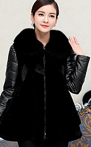 Women's Plus Size /  Party/Cocktail Sexy / Simple Fur Coat,Solid / Color Block Shawl Lapel Long Sleeve Fall /