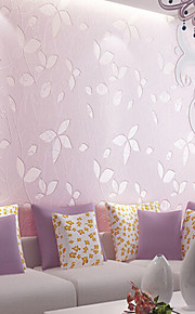 Non-Woven Wallpaper Leaves Pattern Wallcovering Simple Wall Paper For Kids Bedrooms