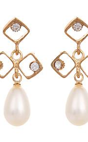 European Style 2016 Gold Plated Earrings for Women White Pearl Rhinestone Earings Korea Fashion Jewelry