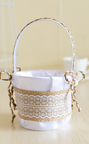 White Satin with Jute Bow Bowknot Decoration Flower Basket for Wedding Party(12*12*24cm)