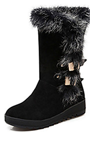 Women's Boots Fall / Winter Fashion Boots Leatherette Dress Flat Heel Others Black / Brown / Red Others