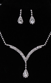 Silver Full-Crystal Rhinestone Necklace Earrings Jewelry Set for Lady Women Wedding Party