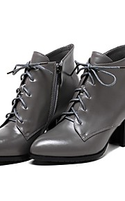 Women's Boots Spring / Fall / Winter Combat Boots Leather Casual Chunky Heel Lace-up Black / Gray Others