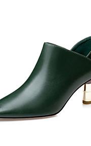 Черный / Зеленый / Бордовый-Женский-Для праздника / На каждый день / Для вечеринки / ужина-Дерматин-На толстом каблуке-Удобная обувь /