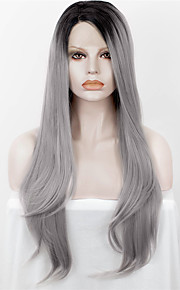 IMSTYLE 24Natural Straight With Black Root Straight Synthetic Lace Front Wig