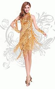 Latin Dance Dresses Women's Performance Chinlon Sequins / Tassel(s) 2 Pieces Dance Costumes with Neckwear Gold