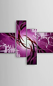 Ready to Hang Stretched Frame Hand-Painted Oil Painting 4 Panels Canvas Modern Purple Abstract Wall Art