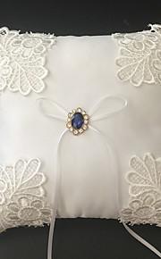 White 1 Ribbons / Rhinestones / Embroidery Satin