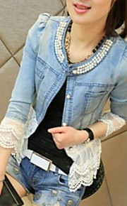 Women's Casual Denim/Polyester Jacket , Long Sleeve
