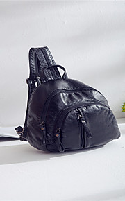 Women leatherette Casual / Outdoor / Shopping Backpack Black