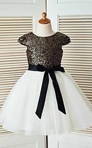 Trapèze Mi-long Robe de Demoiselle d'Honneur Fille - Tulle / Pailleté Manches Courtes Bijoux avec Ceinture / Ruban