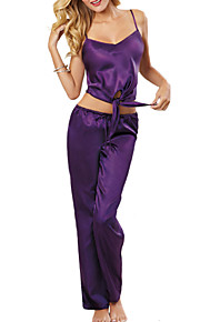 Women Suits NightwearSexy Solid-Thin Spandex / Ice Silk Purple Women's